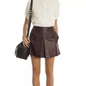 NWT $595 VINCE Leather Skirt burgundy brick red 10